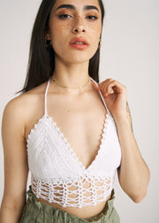 CAMILLA CROCHET HALTER CROP TOP, WHITE