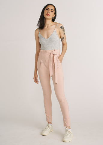 NELLA HI-WAIST BELTED PANTS, LIGHT PINK