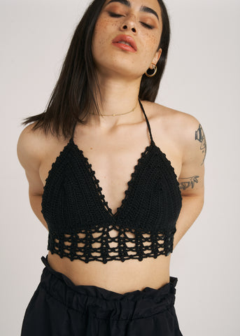 CAMILLA CROCHET HALTER CROP TOP, BLACK