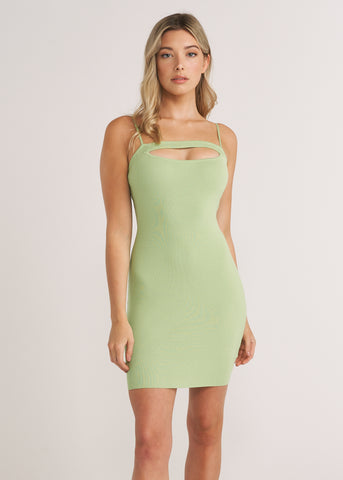 NIKKI KEYHOLE MINI DRESS, WASABI