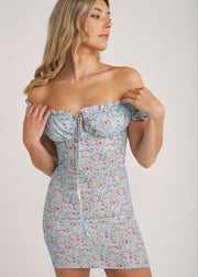 SERENA OFF SHOULDER CORSET MINI DRESS, BLUE FLORAL