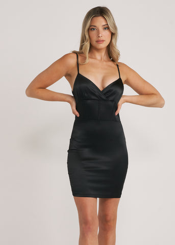 ELLA SATIN CAGE MINI DRESS, BLACK
