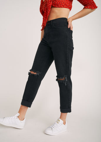 TAYLOR HIGH RISE DISTRESSED MOM JEANS, VINTAGE BLACK
