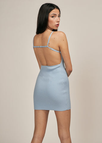 CELENA OPEN BACK RIB KNIT MINI DRESS, FROST