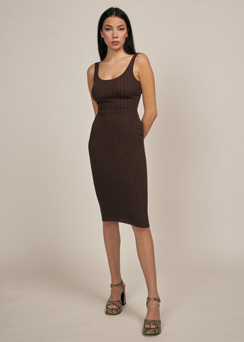 DENIELLE BODYCON MIDI DRESS, CHOCOLATE