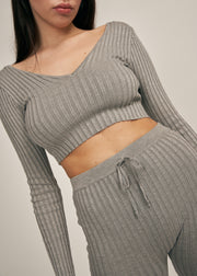 AUBREY V-NECK CROP TOP LEGGING SET, GREY