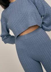 RILEY SOFT CABLE KNIT SWEATER SET, DENIM
