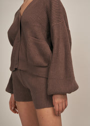 SAVANAH COZY KNIT OVERSIZED CARDIGAN SET, BROWN