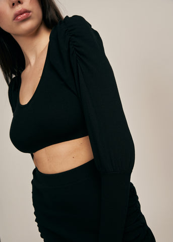 GALORE OFF SHOULDER CROP TOP, BLACK
