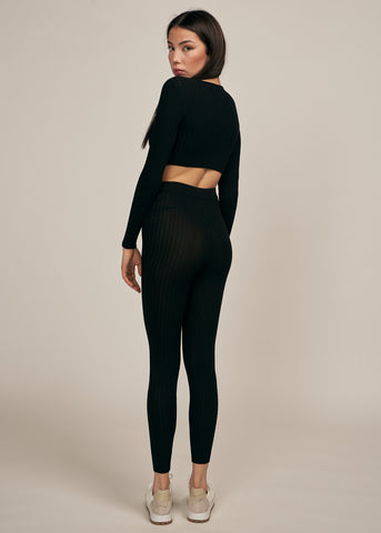 ARIA RIBBED KNIT LEGGING SET, BLACK