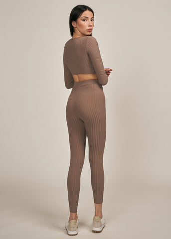 ARIA RIBBED KNIT LEGGING SET, COFFEE