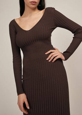 GALORE OFF SHOULDER BODYCON DRESS, CHOCOLATE