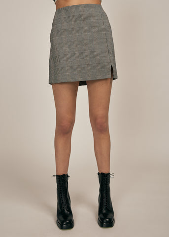 AVA PLAID MINI SKIRT W/ SIDE SLIT, MOCHA