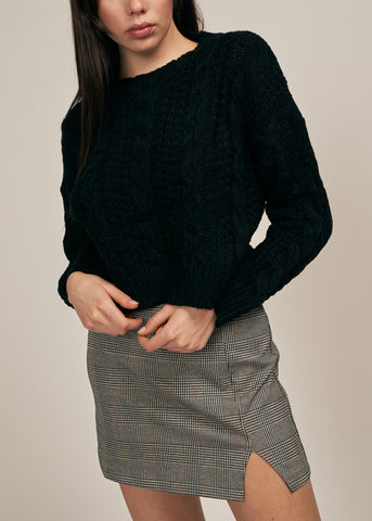 ALLISON CROPPED KNIT SWEATER, BLACK