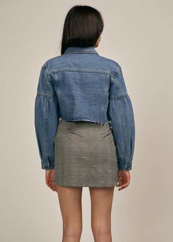 FRANKIE BALLOON SLEEVE CROPPED DENIM JACKET, MEDIUM WASH