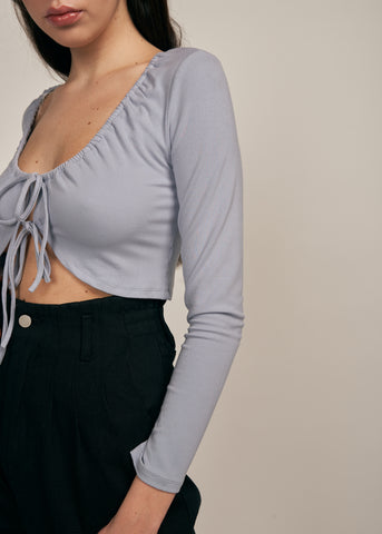 ANGEL TIE FRONT CROP TOP, SKY BLUE