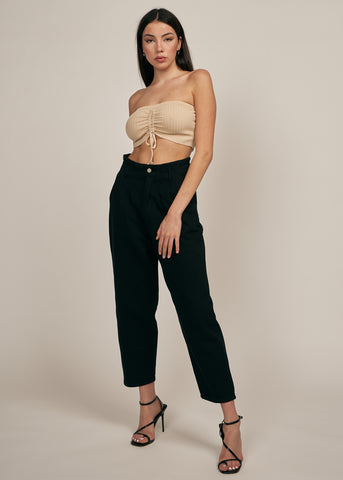 SCARLETT DRAWSTRING TUBE TOP, TAUPE