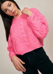 ALLISON CROPPED KNIT SWEATER, NEON PINK