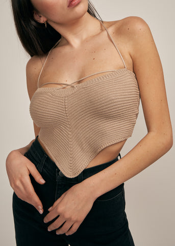 NAYA TAPER CROCHET CROP TOP, SAND