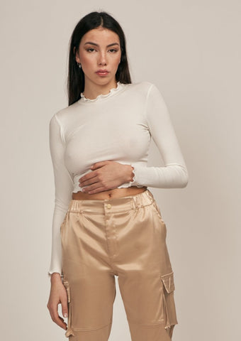 PARIS LETTUCE MOCK NECK CROP TOP, IVORY