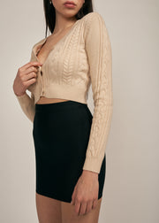 CHER CABLE KNIT CARDIGAN, TAUPE
