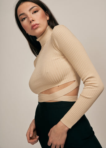 KELANI TURTLENECK W/ WAIST TIE CROP TOP, TAUPE