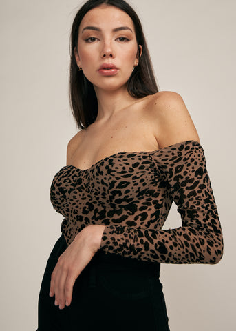 NALA LEOPARD PRINT OFF SHOULDER BODYSUIT, TAUPE