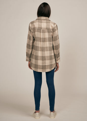 CHESTER PLAID BUTTON DOWN JACKET, KHAKI