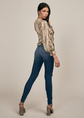 MEDUSA SNAKE PRINT BUBBLE SLEEVE TOP, CHAMPAGNE