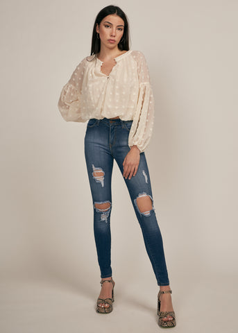 HANNAH POLKA DOT BUBBLE SLEEVE BLOUSE, CREAM