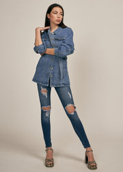 NEVARA BELTED JACKET, MEDIUM DENIM