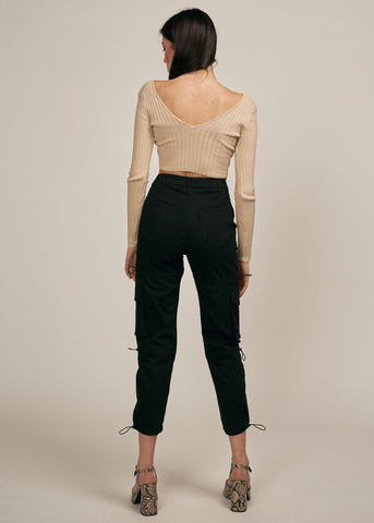 GALORE OFF SHOULDER CROP TOP, TAUPE