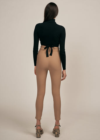 KELANI TURTLENECK W/ WAIST TIE CROP TOP, BLACK