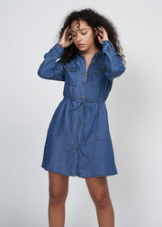 HELENA BUTTON DOWN DRESS, MEDIUM DENIM