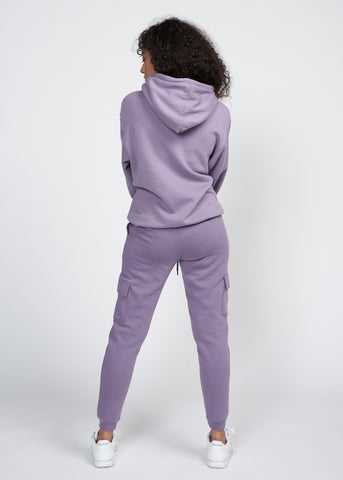 TRAVIS FLEECE HOODIE & CARGO JOGGER SET, LAVENDER