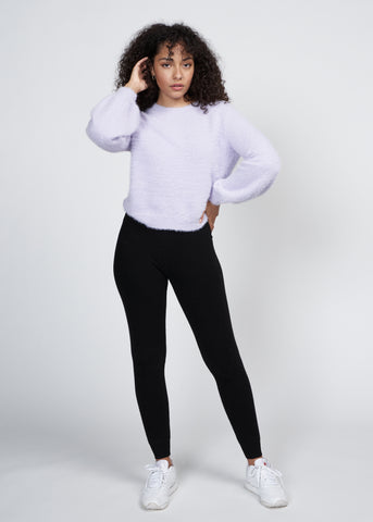 ZAYNA FUZZY BALLOON SLEEVE SWEATER, LAVENDER