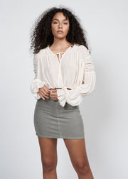 NALISA RUCHED DRAWSTRING BLOUSE, CREAM