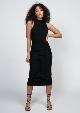 NOVELLA RUCHED SILHOUETTE DRESS, BLACK