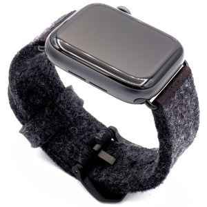 Grey Apple Watch band from merino wool
