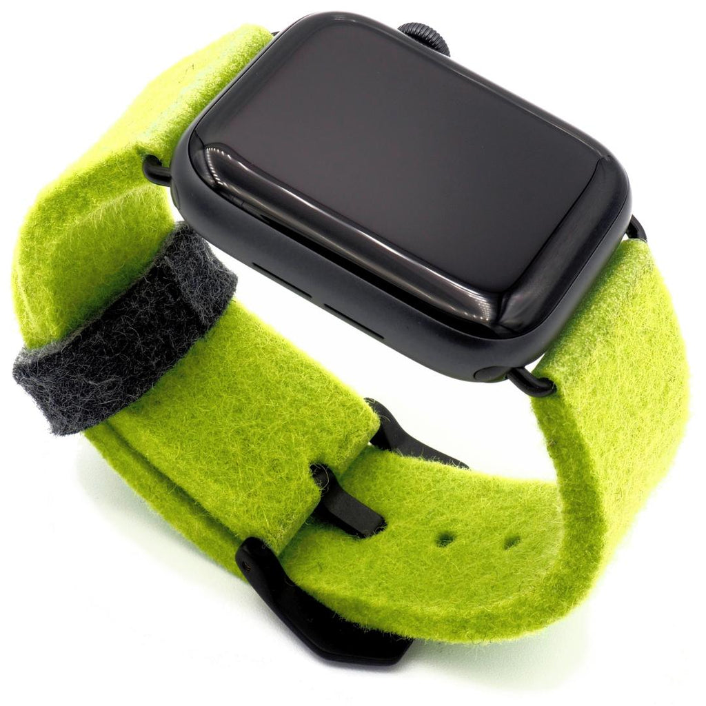 Lime green Apple Watch band from merino wool