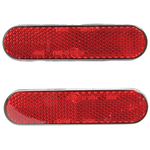 RED REFLECTOR 2 PIECE SET SELF ADHESIVE 22*94MM