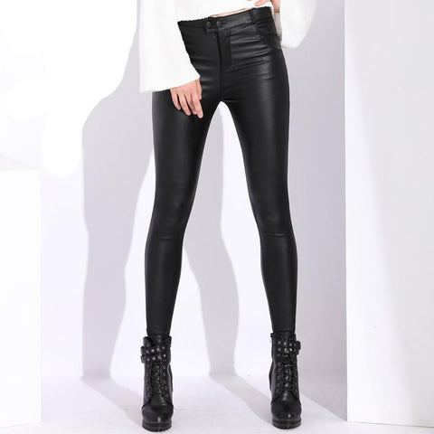 Stretch Faux Leather Leggings- item name, Janie