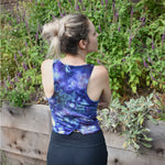Women's bamboo top. Blue ice dyed racerback athletic shirt.