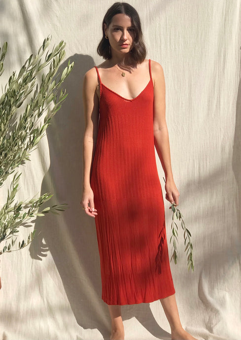 Burnt Orange Ribbed Dress