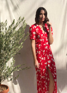 Red Island Floral Dress
