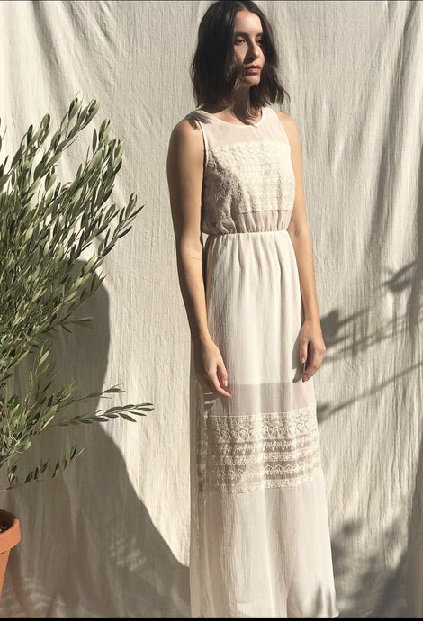 Cream Sheer Lace Dress