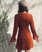 Load image into Gallery viewer, Orange Polka Dot Mini Dress