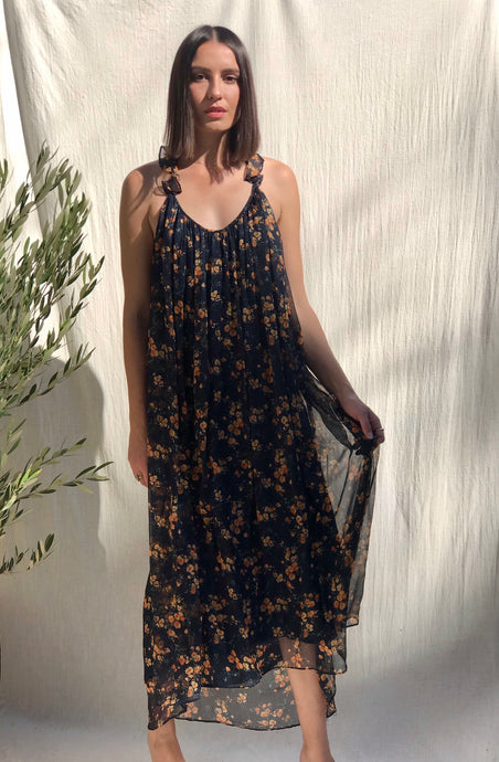 Navy and Orange Floral Dress