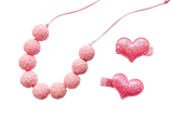 Pink Chunky Glitter Adjustable Bubblegum Necklace