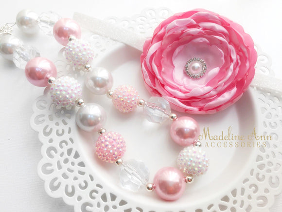 Pink White Bubblegum Necklace for Girls
